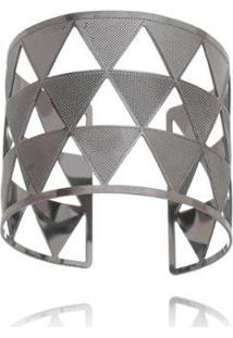 Bracelete Carolina Alcaide Banhado A Ródio Triângulo - Feminino-Grafite