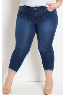 Calça Cropped Jeans Plus Size Com Barra Dobrada