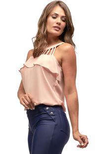 Regata Crepe Mx Fashion Michelle Rosê