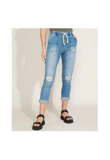 Calça Jeans Feminina Sawary Jogger Cintura Média Destroyed Azul Médio