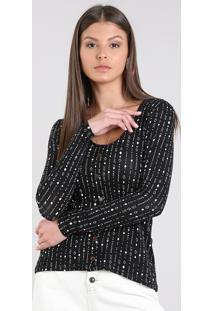 Blusa Feminina Estampada Geométrico Com Botões Manga Longa Preta