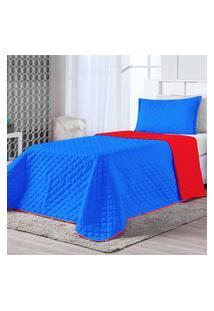 Kit Cobre Leito Dual Color Azul Royal/Vermelho Solteiro 02 Peças - Dupla Face