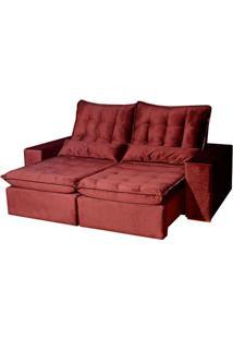 Sofá Star Luxo Com Espuma Viscoelástico - Retrátil E Reclinável - Vermelho - 210Cm