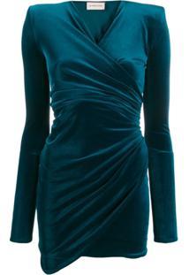 Alexandre Vauthier Vestido Drapeado Gola V - Azul