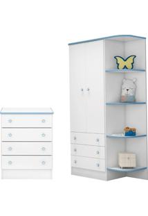 Cômoda E Guarda Roupa Infantil Doce Sonho Branco Azul - Qmovi