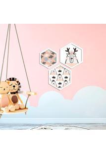 Kit 3 Quadros Com Moldura Hexagonal Cute Urso