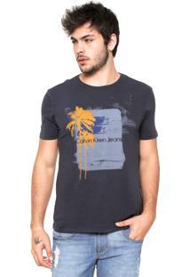Camiseta Calvin Klein Jeans Coqueiro Azul