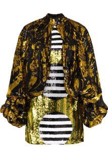 Halpern Vestido Pelerine Com Paetês - Preto