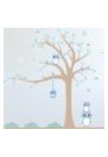 Adesivo De Parede Infantil Árvore Coruja Baby Azul