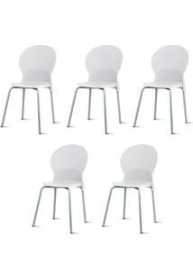 Kit 5 Cadeiras Luna Assento Branco Base Cinza - 57696 - Sun House