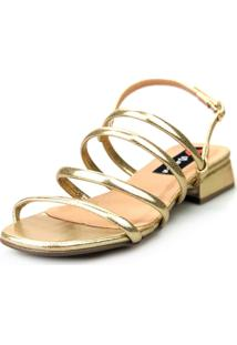 Sandália Saltinho Baixo Love Shoes Tiras Metalizadas Fashion Dourado