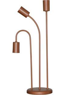 Abajur Retro Luminaria De Mesa Para 03 Lâmpadas Ideal Para Sala Cobre