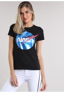 CEA. Blusa Feminina Com Estampa Espacial Metalizada Manga Curta Decote  Redondo Preta a8470a6d4c7dc