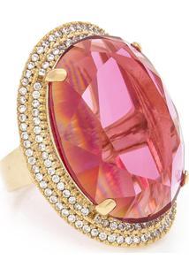 Anel Kumbayá Oval Semijoia Banho De Ouro 18K Cristal Rosa E Cravação De Zircônias