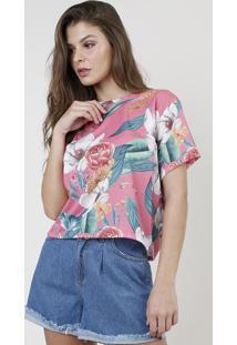 Blusa Feminina Ampla Estampada Floral Manga Curta Decote Redondo Rosa