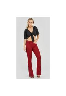 Calça Jeans Express Flare Nikita Bordô Vermelho