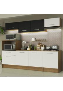 Cozinha Completa Madesa Onix 240002 Com Armário E Balcão - Rustic/Branco/Preto 5Z73 Marrom