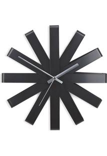 Relógio De Parede Ribbon 30 Cm Preto