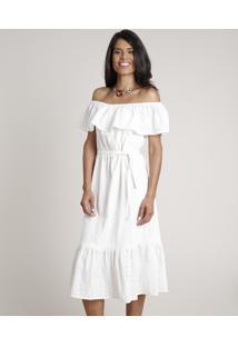 Vestido Feminino Midi Ciganinha Em Laise Manga Curta Off White