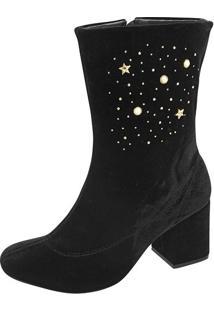 Bota Estrelas- Preta & Dourada- Salto: 7Cm- Azalazaleia