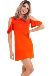 Vestido Manola Vazado Liso - Feminino-Laranja