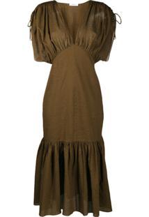 Marysia Vestido Texturizado De Algodão - Marrom