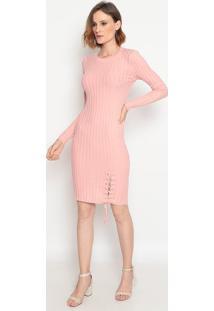 Vestido Midi Com Amarração - Rosa- Suzan Zhengsusan Zheng