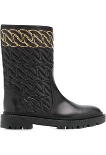 Casadei Ankle Boot Com Textura - Preto