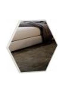 Espelho Decorativo Hexagonal Winter D03 34,5 Cm Moldura Off White Brilho - Lyam Decor