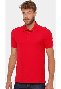 Camisa Polo Aleatory Piquet Lisa Masculina - Masculino-Vermelho