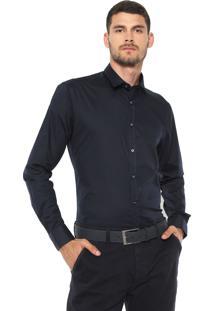 Camisa Crocker Slim Lisa Azul-Marinho