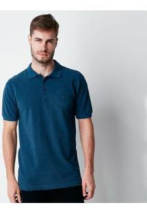 Camisa Polo Hiatto Piquet Micro Estampa Manga Curta Masculina - Masculino-Marinho