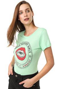 Camiseta Colcci Estampada Verde - Verde - Feminino - Viscose - Dafiti