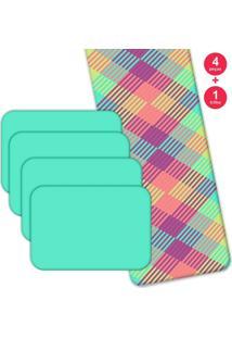Jogo Americano Love Decor Com Caminho De Mesa Wevans Geométricos Coloridos Kit Com 4 Pçs + 1 Trilho