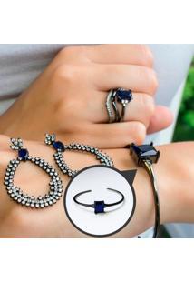 Bracelete Com Cristal Retangular Safira Folheado A Ródio Negro