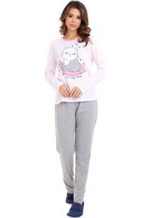 Pijama De Inverno Gatinho Cochilo Feminino Com Algodão Luna Cuore
