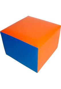 Puff Quadrado Junior Corino Azul E Laranja