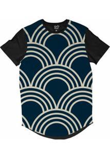 Camiseta Longline Long Beach Náutica Arcos Sublimada Masculina - Masculino-Azul
