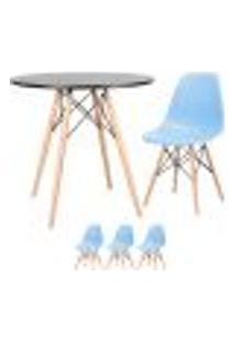 Conjunto De Mesa Eames 80 Cm Preto + 3 Cadeiras Eames Eiffel Dsw Azul Claro