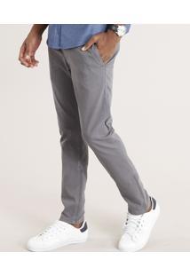 Calça Masculina Chino Skinny Em Algodão + Sustentável Chumbo