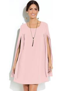 Vestido Clássico Rosa Manga Capa Ampla