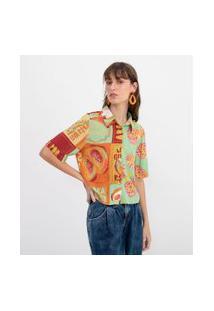 Camisa Curta Estampa Frutas | Blue Steel | Verde | Pp