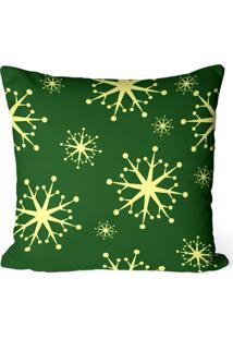 Capa De Almofada Love Decor Avulsa Decorativa Flocos De Natal Verde
