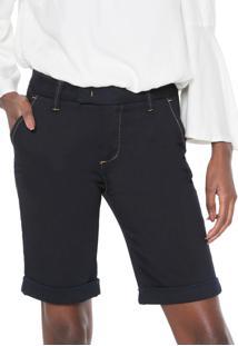 Bermuda Jeans Cantão Chino Pespontos Azul-Marinho