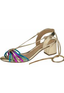 Sandália Salto Médio Gigil Tiras Multicolorida