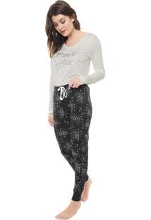 Pijama Hering Estampado Off-White/Preto