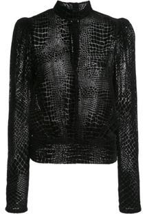 Frame Blusa De Veludo Com Efeito Pele De Cobra - Preto