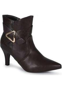 Ankle Boots Feminina Mooncity Detalhe Geométrico Marrom