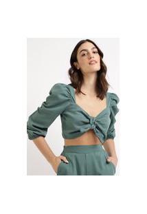 Blusa Feminina Mindset Cropped Com Nó Manga Bufante Decote Coração Verde Escuro