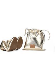 Sapatilha Santa Lolla Ecowear Metalizada Feminina - Feminino-Ouro